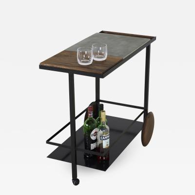 Stefan Rurak Studio Concrete Steel and Walnut Bar Cart
