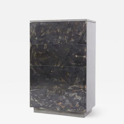 Stefan Rurak Studio Patinated or Blackened Steel Highboy with Cast Concrete and Walnut Interior