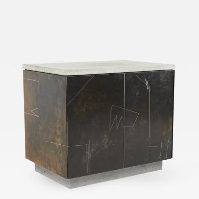 Stefan Rurak Studio S O Side Table Cabinet with Drawn Faces