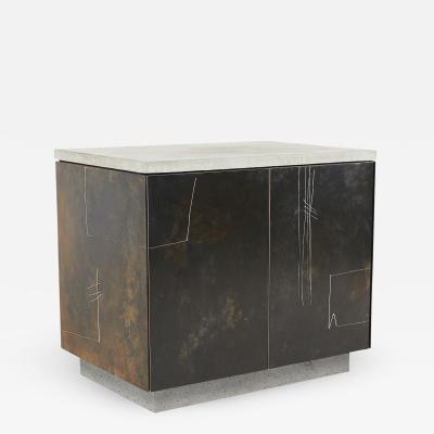 Stefan Rurak Studio S O Side Table Cabinet with Drawn Faces v2