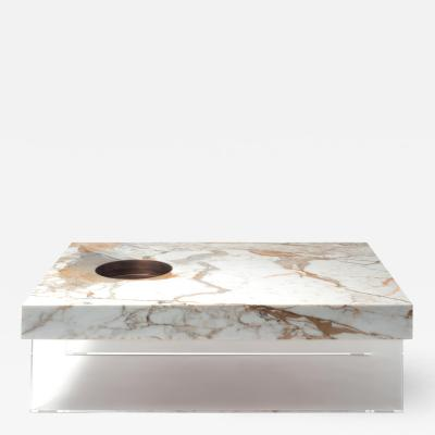 Stefano Belingardi Clusoni Scoop Table M in Calacatta Gold Marble Plexiglass Base