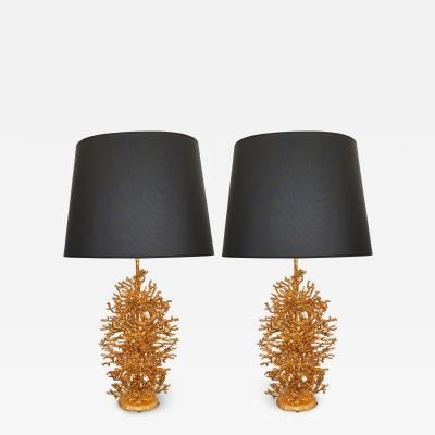 Stephane Galerneau Pair of Gilt Bronze Coral Lamps by Stephane Galerneau France 1990s