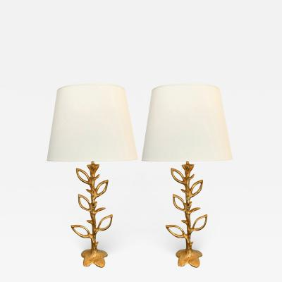Stephane Galerneau Pair of Gilt Bronze Plant Lamps by Stephane Galerneau France 1990s