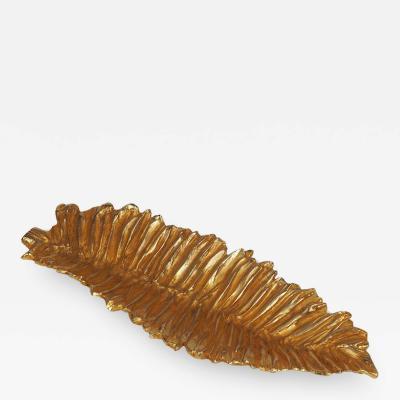 Stephane Galerneau Stephane Galerneau Gilt Bronze Leaf Dish Vide Poche France Circa 1980