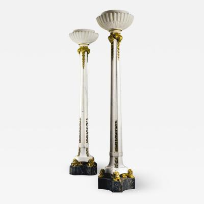 Sterling Bronze Co New York A Monumental Pair of Gilt Bronze Mounted Marble and Alabaster Floor Lamps