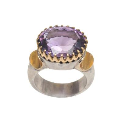 Sterling Silver and 18 Karat Gold Ring with Bezel Set Faceted Amethyst