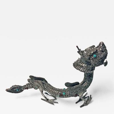 Sterling silver and colour stone inlay Dragon probably Chinese C 1950