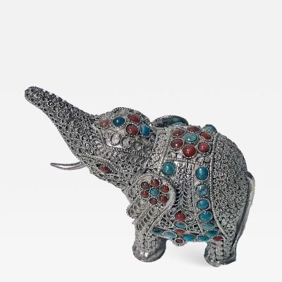Sterling silver and colour stone inlay Elephant probably Chinese C 1950