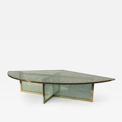 Steve Chase Crackled Glass and Brass Coffee Table by Steve Chase