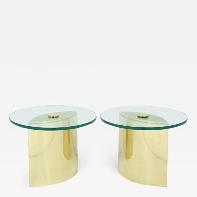Steve Chase Pair of Brass Eye tables by Steve Chase