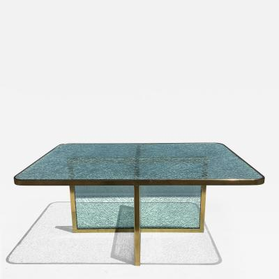 Steve Chase Steve Chase Crackled Glass and Brass Coffee Table