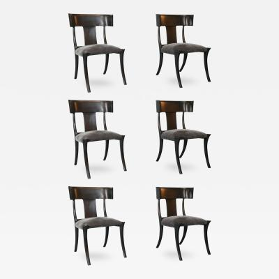 Stewart Macdougall Set of Six Vintage Ebony Stained Klismos Chairs