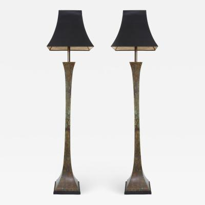 Stewart Ross James A Pair of Verdigris Standing Lamps by Stewart Ross James for Hansen