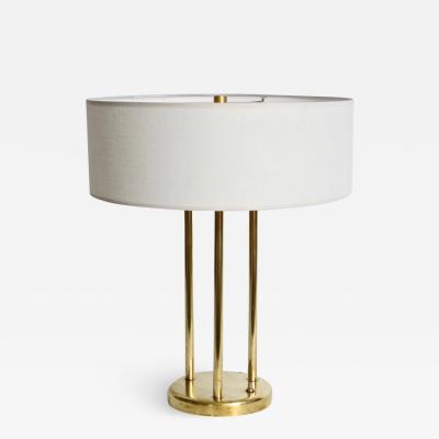 Stewart Ross James Stewart Ross James for Hansen Buffed Brass Tri Column Table Lamp 1950s