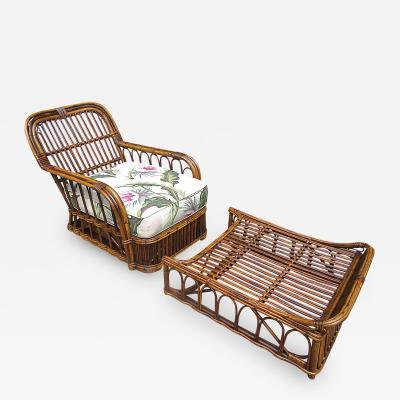 Stick Wicker Armchair Ottoman Set
