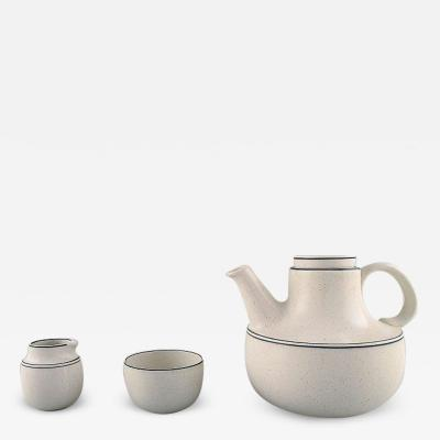 Stig Lindberg Birka teapot with sugar cream set in glazed stoneware