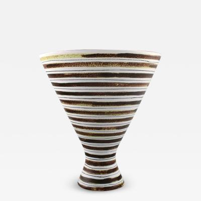 Stig Lindberg Gustavsberg hand painted faience vase with by Stig Lindberg Swedish ceramist