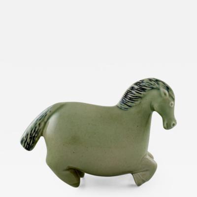Stig Lindberg Horse figure of stoneware decorated with green Celadon glaze