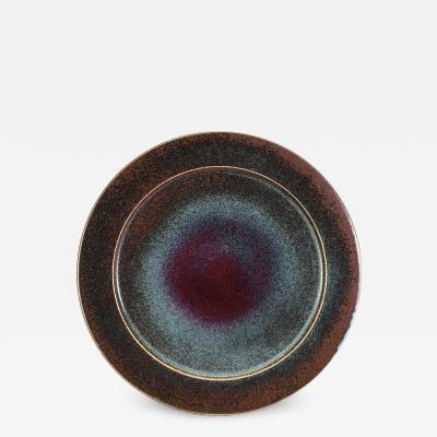 Stig Lindberg Huge Rorstrand Studio Bowl with Oxblood and Sapphire Blue Glazes