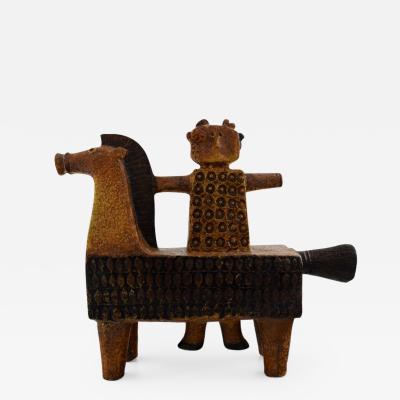 Stig Lindberg Rare Gustavsberg Studio hand horse and man by Stig Lindberg Swedish ceramist
