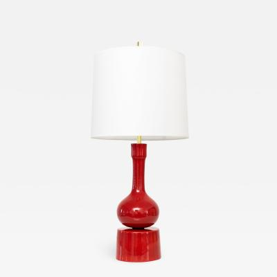 Stig Lindberg STIG LINDBERG SHINY RED CERAMIC LAMP FOR GUSTAVSBERG