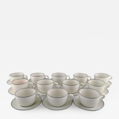 Stig Lindberg Set of twelve Birka teacups with saucers in glazed stoneware