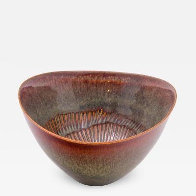 Stig Lindberg Stig Lindberg Signed Glazed Ceramic Bowl for Gustavberg Sweden 1950s
