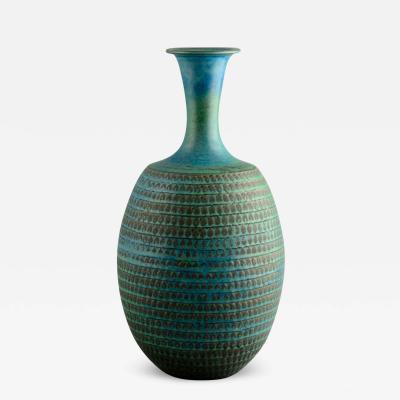 Stig Lindberg Stig Lindberg for Gustavsberg Sweden Large Vase with Turquoise Glaze