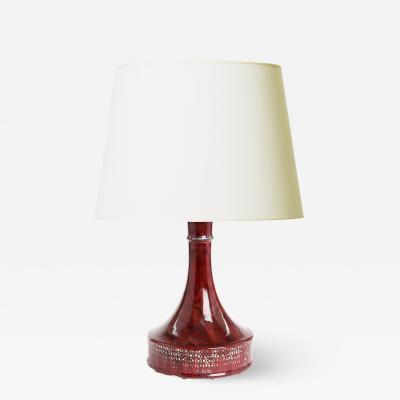 Stig Lindberg Unique Lamp in Oxblood Glaze by Stig Lindberg