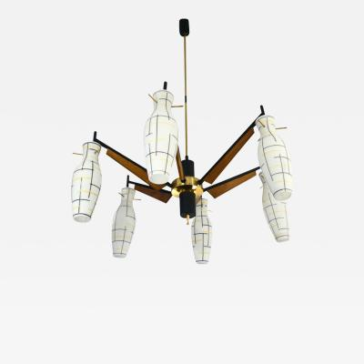 Stilnovo 1950s Italian Yellow Black White Frosted Glass 6 Light Brass Chandelier