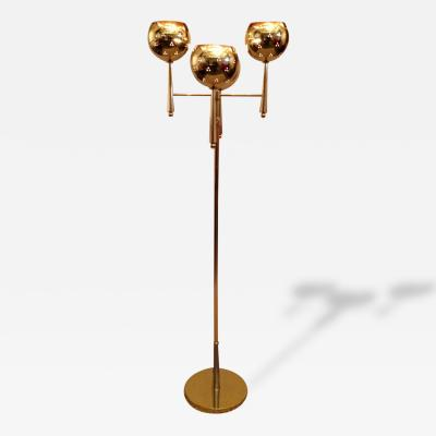 Stilnovo Style Solid Brass Pierced Shade 1950s Standing Lamp