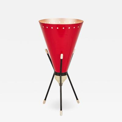 Stilux Milano 1950s Stilux Milano Red Conical Tripod Table Lamp