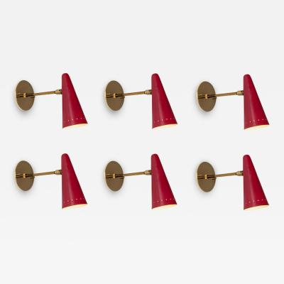 Stilux Milano 1960s Stilux Articulating Red Cone Sconces