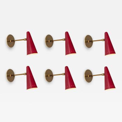 Stilux Milano 1960s Stilux Articulating Red Cone Sconces