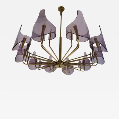 Stilux Milano Brass and Lucite Chandelier by Stilux Milano Italy 1960s