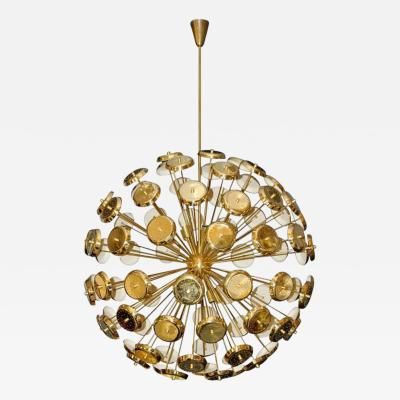 Stilux Milano Important Chandelier Petals of Stilux Gold Brass Circa 2000 Italy