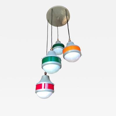 Stilux Milano Italian 5 Lights Plexiglass Chandelier design Stilux 1960s