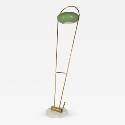 Stilux Milano Stilux Brass Floor Lamp with Green Tole Shade Marble Base