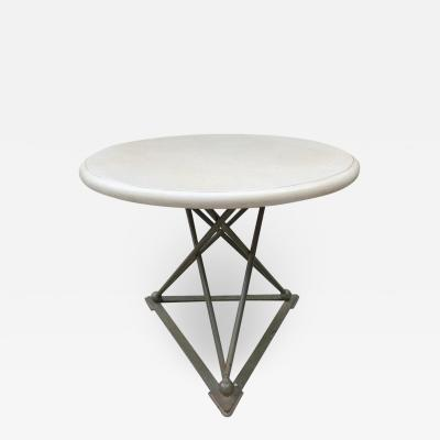Stone Center Side Table with Cross Truss Iron Base with Ball Detailing
