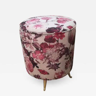 Stool in Velvet Fabric Flowers Decor Brass Feet