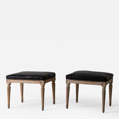Stools Pair Gustavian Black Leather Sweden
