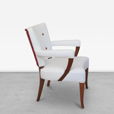 Stow and Davis Furniture Co A stylish set of 4 American white and red leather upholstered game chairs