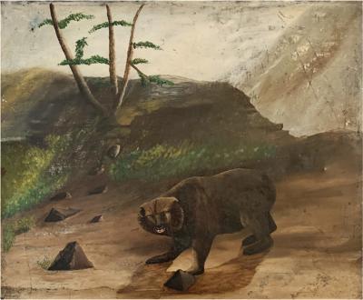 Strange Brown Bear Painting on Tin