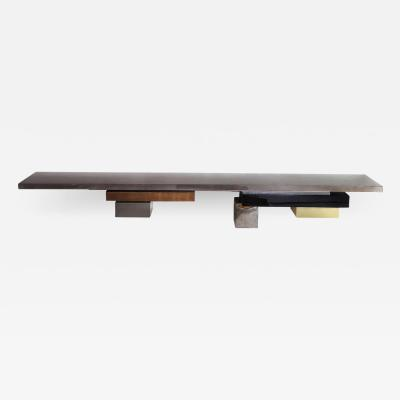 Stratos L Console Wall mounted with tinted gray Sycamore Top