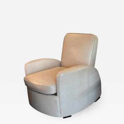 Streamline Art Deco Leather Lounge Chair
