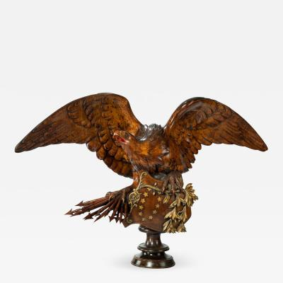 Striking Black Forest walnut carving of an eagle
