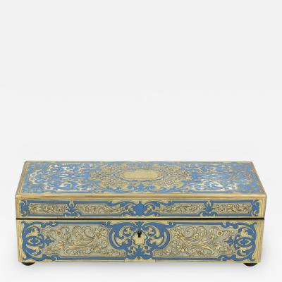 Striking Blue Enamel Boullework Glove Box French Circa 1850 1860