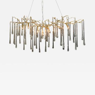 Striking Gilt Metal Chandelier with Long Crystal Drops