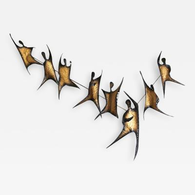 Striking Metal Wall Sculpture Flame Dancers