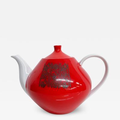 Striking Red Tea Pot Vintage Modern YAMAKA China from Japan 1960s